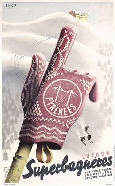 Original 1930s French Winter Ski Travel Poster Hugon