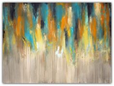 Large Abstract Painting - Blue, Yellow and Grey Wall Art