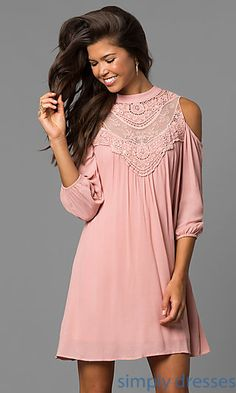 Shop casual short shift dresses at Simply Dresses. Cheap cold-shoulder day-to-night dresses under $100 with long sleeves and embroidered necks. 49.00 Simply Dresses