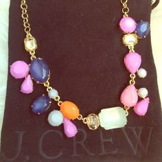 """NWOT J. Crew Statement Mixed Stone Necklace 18"""" necklace with assorted playfully colored stones: navy, mint, tangerine, grey, lilac, and Crystal!  Goes with almost anything!  Gold tone chain.  Comes with ivory cotton JCrew dustbag. J. Crew Jewelry Necklaces"""