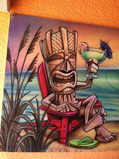 The Tiki God on the drink board at the beach bar in Florida.