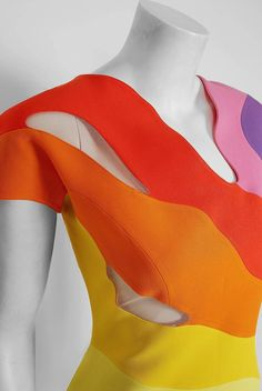 c071470e11af 1990 Thierry Mugler Couture Documented Rainbow Bodycon Cut-Out Hourglass  Dress