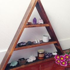 """why it's awesome to have a partner who is handy with the tools, he can help build you gorgeous triangle shelves out of recycled timber """