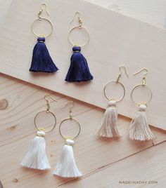 Easy DIY Tassel Hoop Earrings Anthro Hack - this looks like a great gift idea
