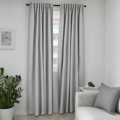 VILBORG Room darkening curtains, 1 pair, gray, The curtains darkens the room and provide privacy by preventing people outside from seeing into the room. Effective at keeping out both drafts in the winter and heat in the summer. Grey Curtains Bedroom, Ikea Curtains, Room Darkening Curtains, Blackout Curtains, Panel Curtains, Ikea Bedroom, Grey Room, Living Room Grey, Living Room Decor