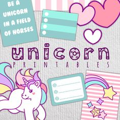 Printable planner stickers by www.shop.GlitterMonday.com Unicorn digital stickers, planner kits, Happy Planner, Erin Condren, Cut files for Cricut and other file formats available!
