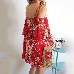 BEFORW Women Dress Fashion Peach Printing Loose Dresses Red Spaghetti Strap Chiffon Beach Dress The Strapless Sexy Summer Dress
