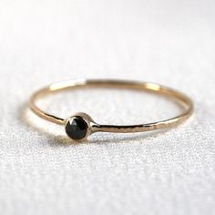 Rose Cut Black Diamond Stack Ring - Solid 14k Gold - Genuine Rose Cut Black Diamond - Rose or White or Yellow Gold - Tiny Delicate Dainty by MARYJOHN on Etsy https://www.etsy.com/listing/173024106/rose-cut-black-diamond-stack-ring-solid