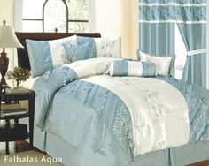"7pc King Size Falbalas Floral Comforter Set Aqua Blue/Beige by Linen and Furniture. $57.99. 1 Pc King Size Comforter (101"" x 86""). 1 Pc Neckrol. 2 Pcs Pillow Shams (20"" x 38""). 1 Pc Square Cushion, 1 Pc Breakfast Pillow. 1 Pc Bedskirt (78"" x 80"" + 14"" Drop). This Beautiful Comfoter set will take your bedroom to the next level of elegence. This comforter set comes in a great carrying bag which makes it great for gifts too. Fabric Content: 100% Polyester Color: Aqua/Beige"