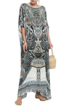 Shop Camilla Embellished Printed Silk Crepe De Chine Kaftan In Blue from stores. Kaftan Multi-colored print Silk crepe de chine Crystals Slips on Delicate dry clean Imported Camilla Clothing, Opera Coat, Printed Silk, Silk Crepe, World Of Fashion, Luxury Branding, Your Style, Kimono, Delicate