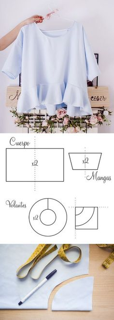 New Diy Easy Sewing Clothes Costura Ideas Dress Clothes For Women, Diy Clothes, Blouse Patterns, Clothing Patterns, Sewing Dress, Sewing Blouses, Diy Vetement, Make Your Own Clothes, Sewing Patterns Free