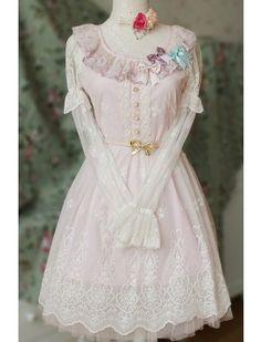 ba4e2bfd524 Sweet Long Sleeves Pink Lace Lolita OP Dress Shirt Skirt