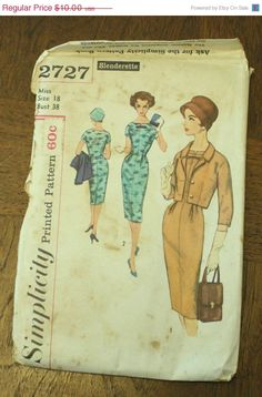 35%OffPatterns Simplicity 2727 1950s 50s by EleanorMeriwether