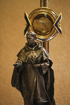 This photo is a detail of the reliquary of St Dominic, which is usually housed in the Dominican nuns' convent of Sta Maria del Rosario in Rome. The reliquary enshrines a part of the cranium of St Dominic de Guzman, founder of the Order of Preachers.