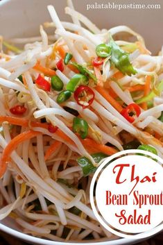 Thai bean sprout salad is a light, spicy and refreshing salad made with fresh mung bean sprouts that can make an interesting side to a stir-fry or curry. Bean Sprout Salad, Bean Sprout Recipes, Sprouts Salad, Bean Recipes, Salad Recipes, Vegetarian Recipes, Cooking Recipes, Healthy Recipes, Dip Recipes