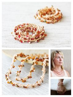 Wrap bracelet Long beaded crochet necklace Boho jewelry Summer fashion Gift for her Beige brown red pink peach