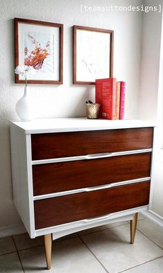 Mid Century Modern dresser with Gold Legs. Painted in General Finishes Snow White and Java Gel.