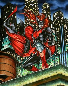 Batwoman trading card art by Richard Cox