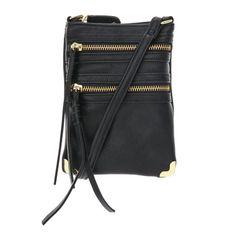 Arlington Black Faux Leather Zippered Cross body Bag