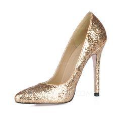 Women's Sparkling Glitter Stiletto Heel Closed Toe Pumps With Sequin (047016469)