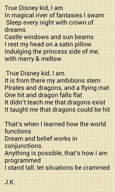 True Disney kid I am