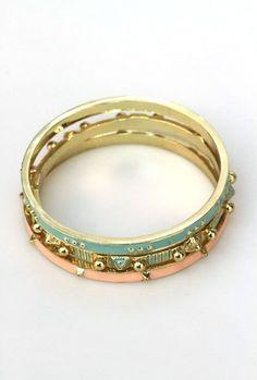 Bracelet - Attention Span Bangle Bracelet Set in Mint and Pink