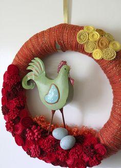 Chicken Wreath Orange and Red Chicken Wreath by TheBakersDaughter, $72.00