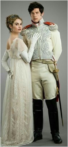 Lily James as Natasha and James Norton as Prince Andrei in War & Peace Fashion Themes, Fashion Tv, Couture Fashion, Autumn Fashion, James Norton, Period Costumes, Movie Costumes, The Paradise Bbc, Vintage Couture