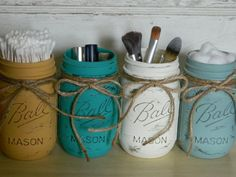 Make-Up Brush Holder /  Hand Painted Pint Mason Jars /  Pint Jars / Flower Vases / Annie Sloan Chalk Paint /  Home and Wedding Decor on Etsy, $24.00