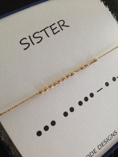 Set of 2 - SISTERS 14K Gold Filled or Sterling Silver Morse Code Sisters Necklace