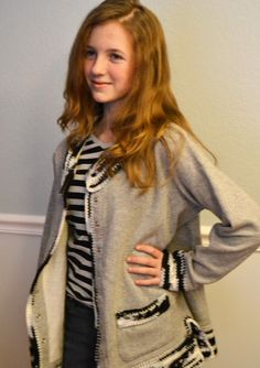Customized Sweatshirt Jacket in Ash Gray with Crochet Trim by HermitsOfAfton