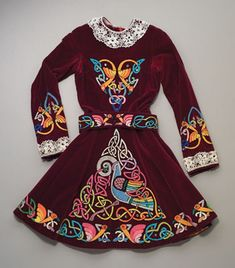 Dress, Irish stepdancing costume, 1980; Ann P. Horkan (b. 1936); Osterville, Massachusetts; Maroon velvet, cotton, satin embroidery; 37 x 20...