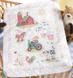 Cross Stitch Kit ~ Plaid-Bucilla On The Farm Baby Crib Cover / Quilt #45567 #Plaid #BabyQuilt