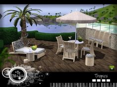 This set includes: Lounger, armchair, chair, stool, dining table, coffee table, coconut, drink and illuminated palm tree.  Found in TSR Category 'Sims 3 Garden Sets'