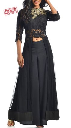 Black Designer Palazzo Pant With Embroidery Work Jacket Style Kameez Party Wear Indian Dresses, Indian Fashion Dresses, Dress Indian Style, Indian Designer Outfits, Indian Outfits, Designer Dresses, Fashion Outfits, Kurta Designs Women, Blouse Designs
