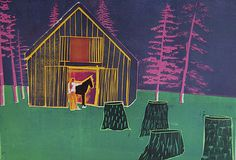 """""""Stable"""" by Tom Hammick (woodcut)"""