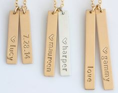 Personalized Vertical Bar NecklaceVertical Bar NecklaceName Bar NecklaceGold BarKids Names NecklaceGift for Wife by LEILAjewelryshop Diamond Cross Necklaces, Gold Bar Necklace, Baby Necklace, Thing 1, Custom Name Necklace, White Gold Wedding Bands, Baby Jewelry, Gifts For Wife, Cross Pendant