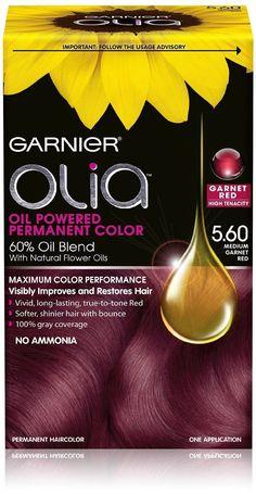 Garnier Olia Permanent Hair Color 5.60 Medium Garnet Red Ammonia Free Hair Dye