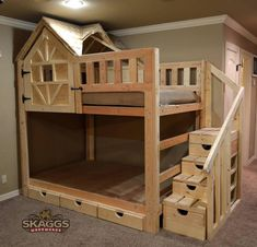 Tudor Paws Dollhouse Bed is a handmade bunk bed with doll house end and . - Tudor Paws Dollhouse Bed is a handmade bunk bed with doll house end and carved dog prints in the dr - Bunk Bed Rooms, Loft Bunk Beds, Bunk Beds With Stairs, Kids Bunk Beds, Bunk Bed Fort, Cabin Beds For Boys, Playhouse Bed, Girl Bedroom Designs, Kids Bedroom