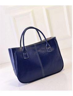 f1c16a5f4a Korean Simple Trend Leisure Bright Surface Women Handbags Blue