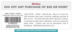 Pinned January 18th: 20% off $20 today at Bob #Evans restaurants #coupon via The #Coupons App