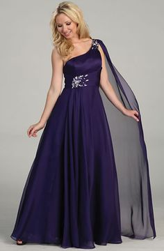 Glamour Plus L3225W Plus Size Prom Dress. Single asymmetrical strap with over the shoulder drape; ruched band pinned by light-reflecting stones cinching the shirred chiffon ball skirt. Chat with us at http://messenger.providesupport.com/messenger/therosedress.html?ps_s=4bE8rspYpohy