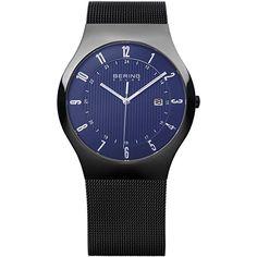 BERING 14640-227 Men's Solar Watch Blue Dial Black Stainless Steel Mesh Band