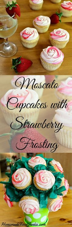 Moscato Cupcakes with Strawberry Frosting. This post has a video showing how to decorate these delicious, adorable cupcakes. It's so easy! Fantastic foodie gift and party idea! Perfect for weddings, showers, Holidays and birthdays.