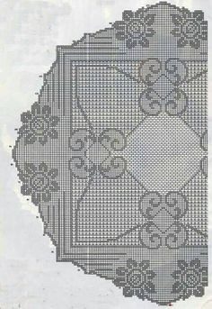 Kira scheme crochet: Scheme crochet no. Crochet Tablecloth, Round Tablecloth, Crochet Doilies, Filet Crochet Charts, C2c Crochet, Crochet Flower, Mantel Redondo, Crochet Square Patterns, Easter Crochet Patterns