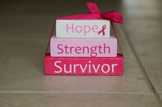 Breast Cancer Awareness Wood Block Stack  Hope by RutherfordWoods, $12.00