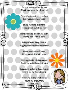 "Mother's Day Poem FREEBIE!  Great for K-2.  Seven different variations:  Some ""Ready to Go"" others formatted for your students' personalized art.  You choose what works best for your class and have a great Mother's Day!"