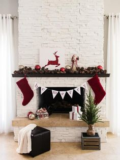 One Fireplace Mantel Decorated 3 Ways: Rustic, Traditional and Glam | Entertaining - DIY Party Ideas, Recipes, Wedding & Baby Showers | DIY