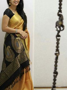 Poly Silk Black Saree with Matching Color silk Blouse. It contained of Printed. The Blouse which can be customized up to bust size This Unstitch Saree Length mtr including mtr Blouse. Indian Silk Sarees, Soft Silk Sarees, Bengali Saree, Kerala Saree, Chiffon Saree, Modern Saree, Black Saree, Black Cotton Saree, Cotton Silk
