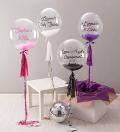 Big Balloons are Awesome Is there anything cooler than big balloons? They are such a great way to decorate a celebration or birthday party! I'm sharing tons of great options to use at your next get together. Balloon Box, Balloon Tassel, Balloon Gift, Balloon Flowers, Balloon Bouquet, Balloon Party, Clear Balloons, Bubble Balloons, Giant Balloons
